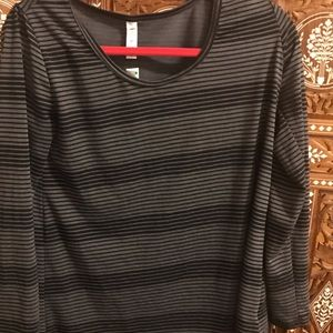 LuLaRoe grey and black striped top